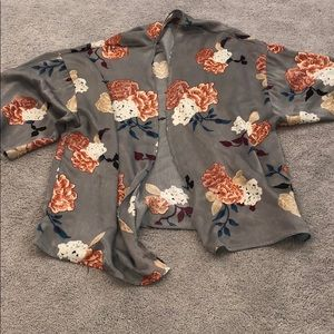Other - gray kimono with orange & burgundy flower pattern.